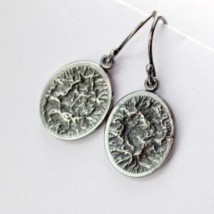 Framed Mountains - Rustic Oxidized Sterling Silver Earrings