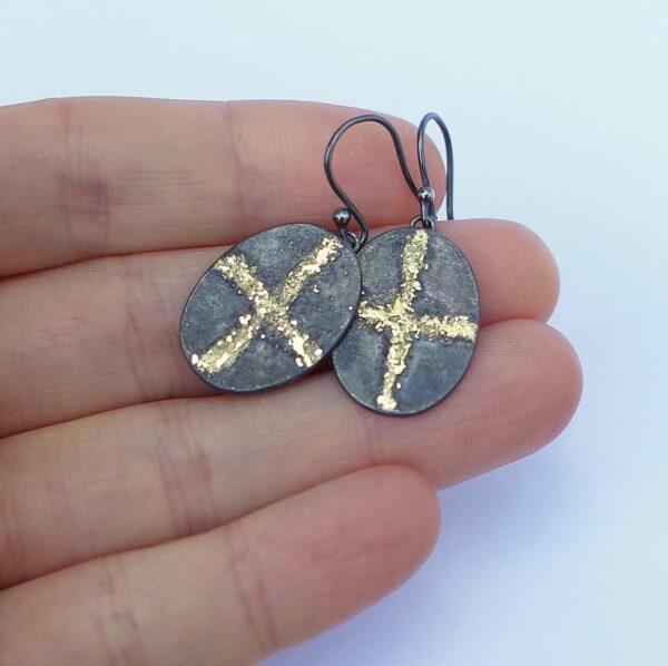 Gold Chaos Gold Cross - Artisan Oxidized Sterling Silver Dangle Earrings with Gold Accent