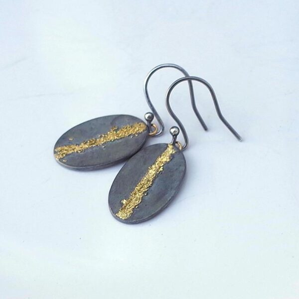 Gold Chaos Gold Line - Artisan Oxidized Sterling Silver Dangle Earrings with Gold Accent