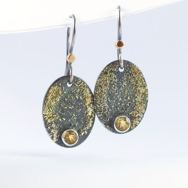 Gold Chaos Citrine Oval Drop Earrings