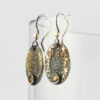 Gold Chaos Citrine Oval Drop Earrings - Oxidized sterling silver and 18k yellow gold earrings.