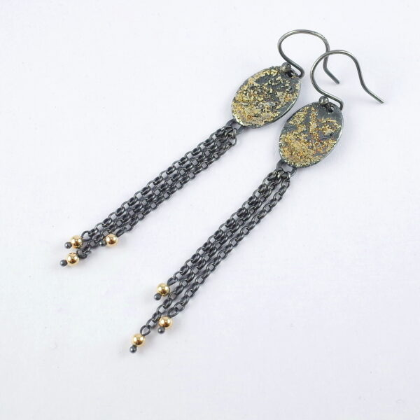 Gold Chaos Long Earrings - Oxidized Sterling Silver and 18k Gold Earrings.
