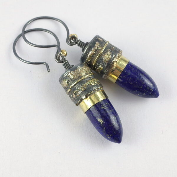 Lapis Lazuli Earrings - Sterling Silver and 18k Gold Unique Artisan Earrings