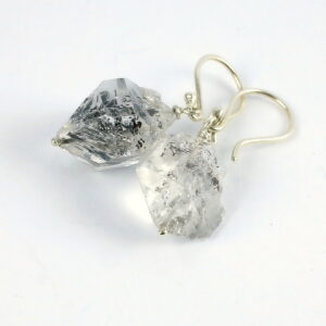 Raw Herkimer Diamond Earrings - 9k White Gold and Large Natural Crystal Points