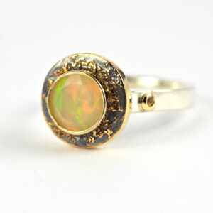 Ethiopian Opal Engagement Ring - artisan sterling silver and 18k yellow gold engagement ring.