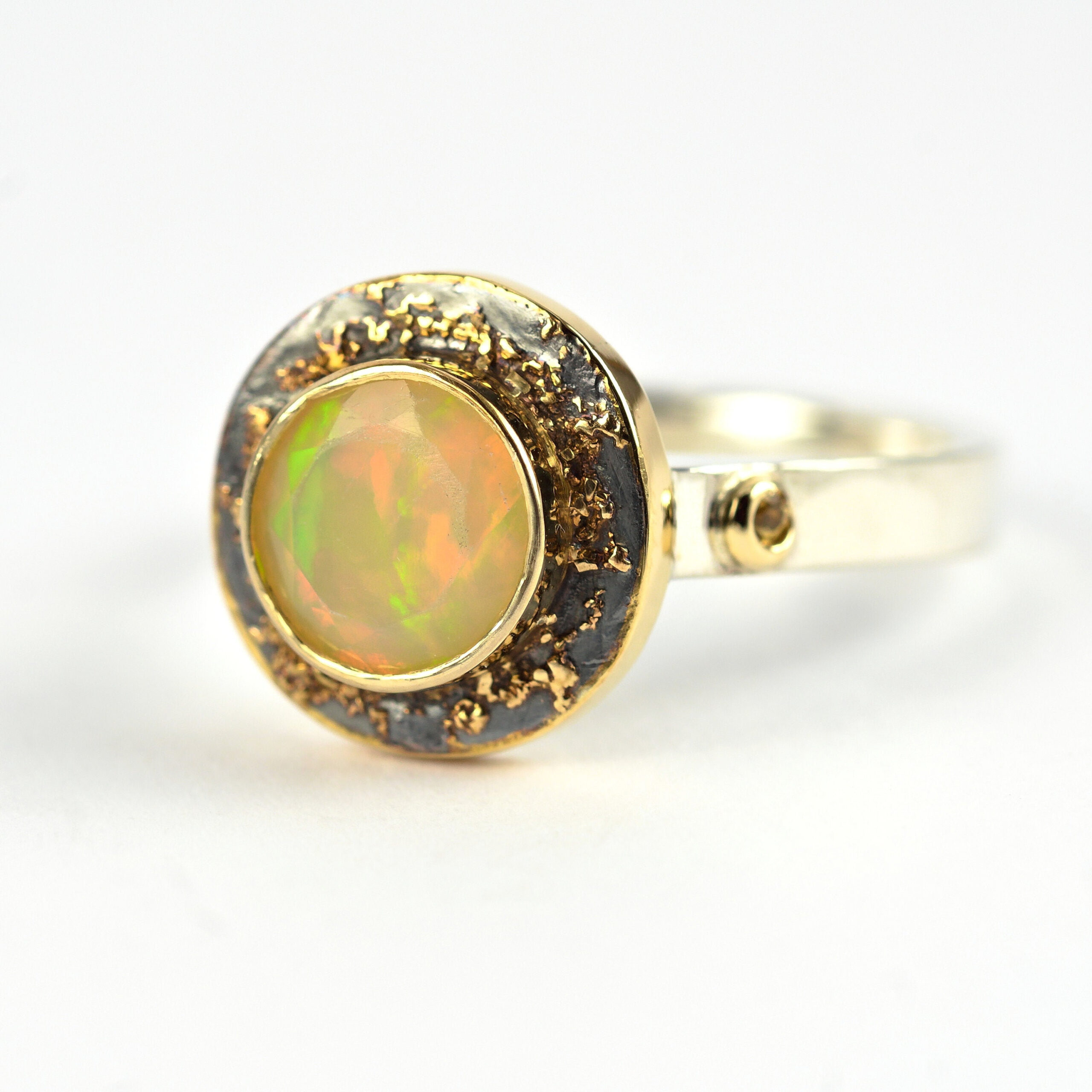 Beautiful Ethiopian Opal Engagement Ring Sterling Silver Wedding Ring