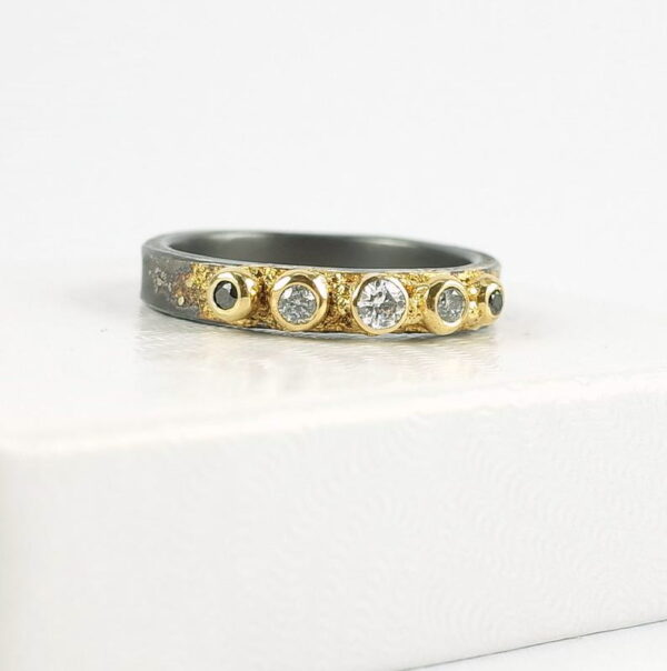 Five Stone Diamond Engagement Ring - unique one of a kind ring with black, white and salt and pepper diamonds in silver and gold.