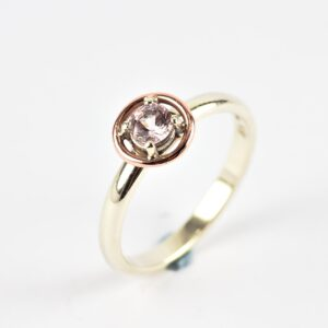 Morganite Engagement Ring - one of a kind two tone 9k rose gold and white gold engagement ring.