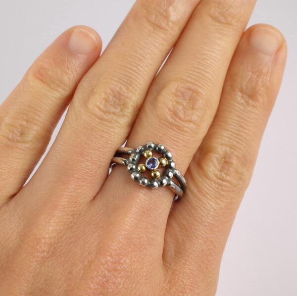 Tanzanite Engagement Ring - one of a kind engagement ring made of sterling silver and 18k yellow gold.