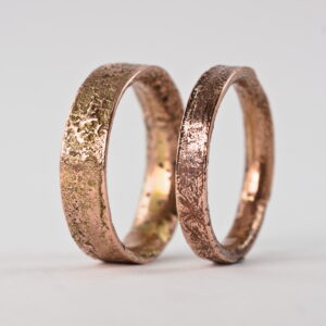 Rustic Gold Engagement Ring Set, 9k Rose Gold Wedding Bands - Unique wedding bands with a rich, rustic texture 6 and 4 mm.