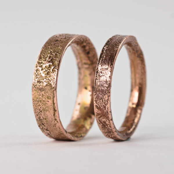 Rustic Gold Engagement Ring Set, 9k Rose Gold Wedding Bands