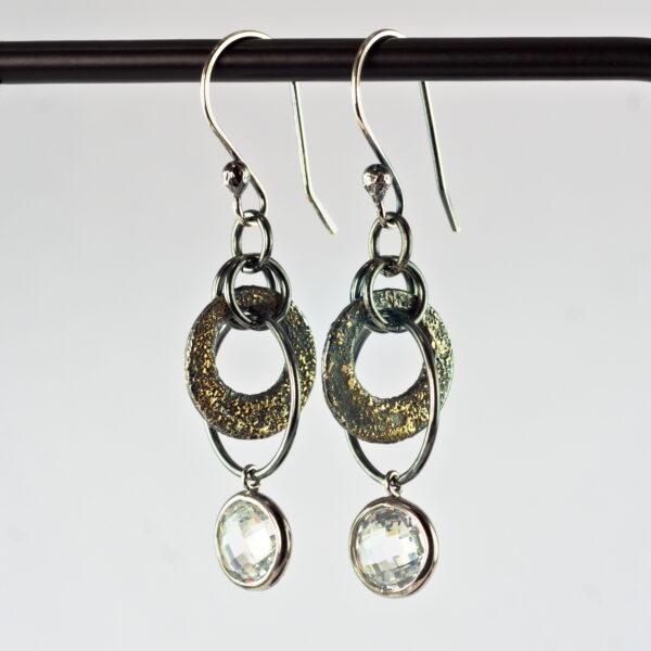 Gold Chaos Cubic Zirconia Earrings