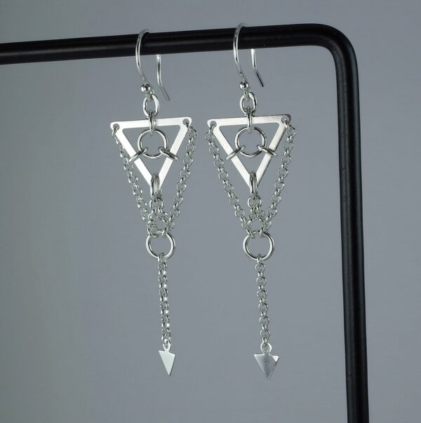 Circles and Triangles - Sterling Silver Geometric Earrings, Long and Spiky
