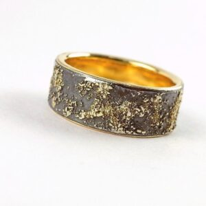 Gold Chaos with Gold Lining 8mm - Unique ring with oxidized silver base, rustic gold texture and shiny gold inside.